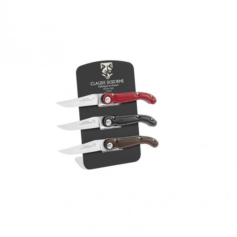 Laguiole Aveyron LOT 3 LAGUIOLE DOZORME CUIR + PRESENTOIR 4914s Couteaux Outdoor